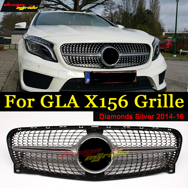 Para Mercedes Benz GLA X156 Diamante Grade ABS Prata sem logotipo central GLA180 GLA200 GLA250 ABL Grade Grades De Diamante 2014 -16