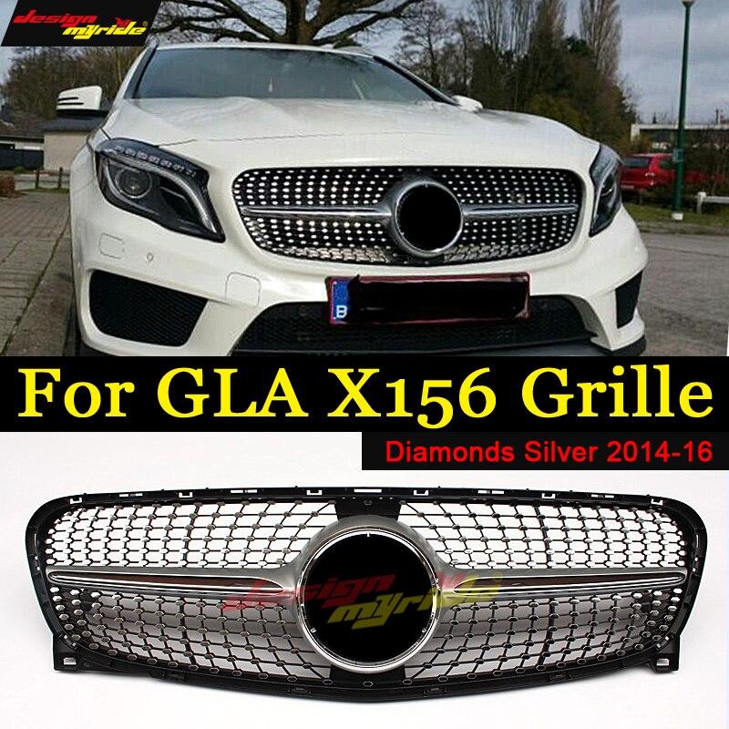 Pour Mercedes Benz GLA X156 Diamant Grille ABS Argent sans centrale logo GLA180 GLA200 GLA250 Diamant Grilles GLA Grille 2014 -16