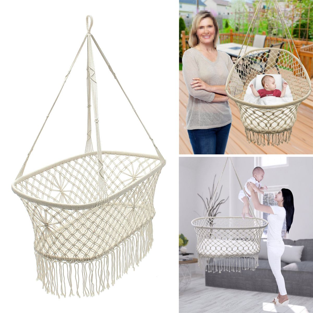 Hanging Hammock White Cotton Baby Garden Baby Cribs 90*87*57cm Woven Rope Swing Patio Chair Seat Bedding Baby Care GiftsHanging Hammock White Cotton Baby Garden Baby Cribs 90*87*57cm Woven Rope Swing Patio Chair Seat Bedding Baby Care Gifts