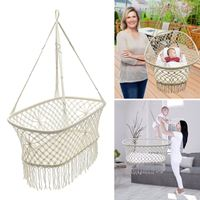 Hanging Hammock White Cotton Baby Garden Baby Cribs 90*87*57cm Woven Rope Swing Patio Chair Seat Bedding Baby Care Gifts