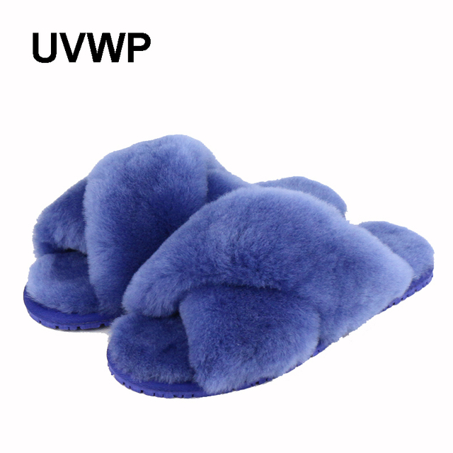 ca2e94242e3a UVWP Natural Sheepskin Winter Warm Fur Slippers Women Home Shoes Indoor Slipper  2018 Luxury Wool Slippers Woman Casual Slippers