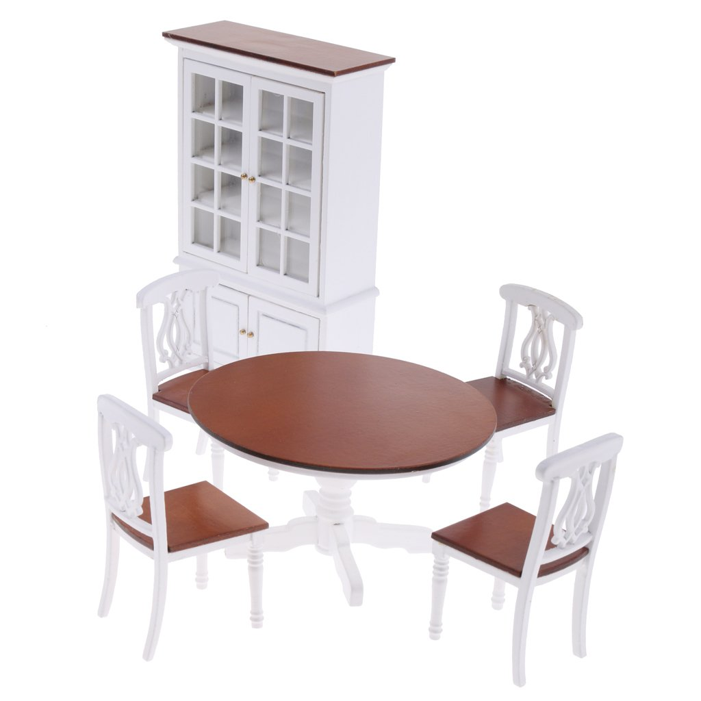 1:12 Scale Dollhouse Dining Room Furniture Wooden Table Chair Cabinet Miniature Doll House Accessories Decoration Toys Gift