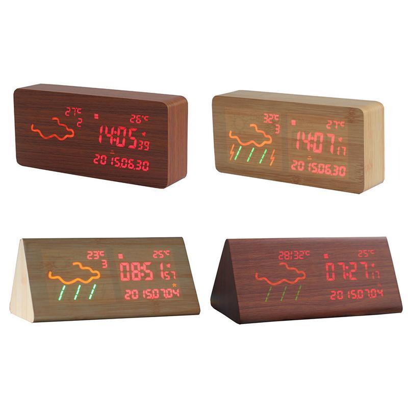 Rétro En Bois Horloge Creative WIFI Numérique Alarme Horloge LED Affichage Sans Fil Station Météo Prévisions Maison Décor Lumineux Lit Horloge