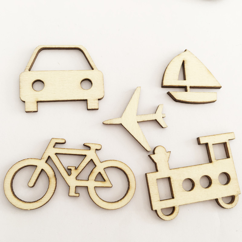50 Pcs Unfinished Wooden Train/Car/Bicycle Pattern Wooden Chip Scrapbooking Craft Handmade Accessories Home Decoration