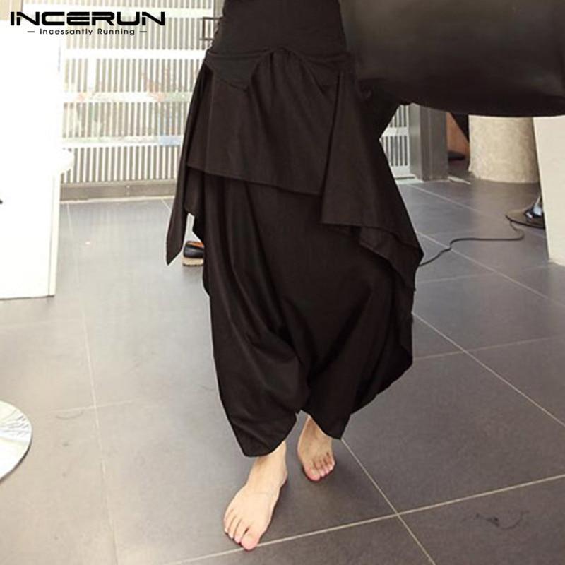 Harajuku Male Pants Streetwear Punk Men Pants Harem Trouser Black Big Crotch Cross-pants Dance Hiphop Hmong Baggy Wide Legs 5XL