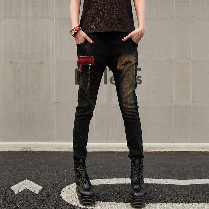 Molla Lampo Chiusura Punk 2019 Femme Harem Coreano Jeans Denim Della Femminile Modo Stile In Il Delle Stampato Pantaloni Max Nero Signore Di Lulu Donne XOqUTU