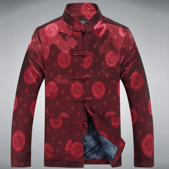 Sheng Coco Men Cotton Chinese Jacket Long Sleeve Traditional Chinese Jacket Tangzhuang Clothing Printing Chinese Jacket New