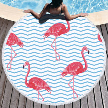 Large Leaves Flower Flamingo Tassel Bath Towel Beach Round Microfibre Compressed Bathroom Towels for Adults