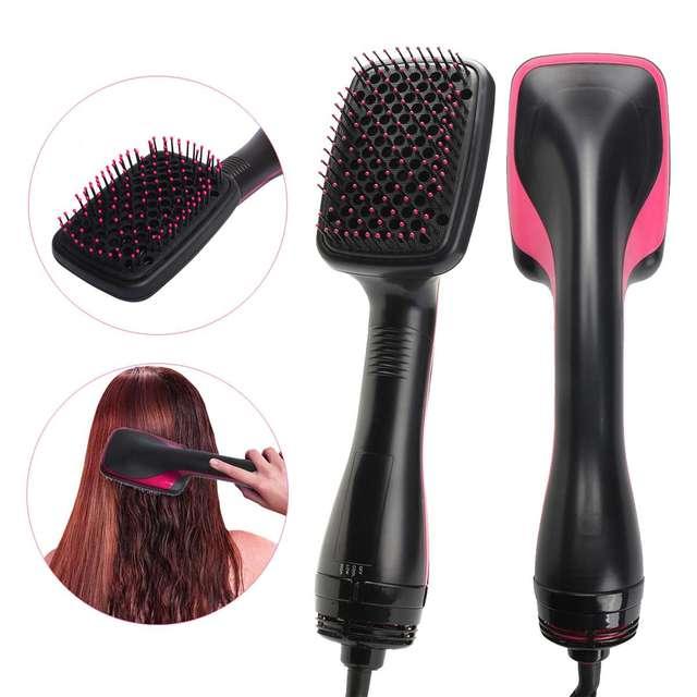2 ב 1 יונית מיזוג שיער Styler מסרק מברשת 1000 W החלקת שיער מייבש ההנעה מברשת מסרק סלון יופי שיער טיפול סגנון כלי
