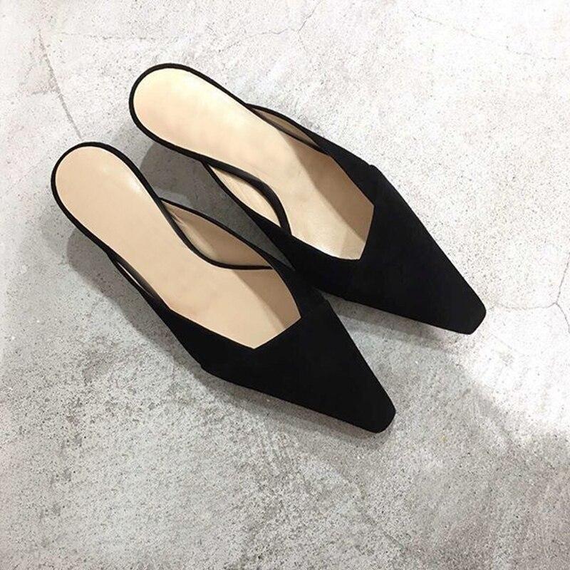 Mules Soirée Femmes Babouches 5 Chaussures Talons khaki F103 Black Femme Boîte 4 D'emballage Pour Véritable De Cm Cuir Épais D'été Sexy Dames Décontracté qEwnAxZP4