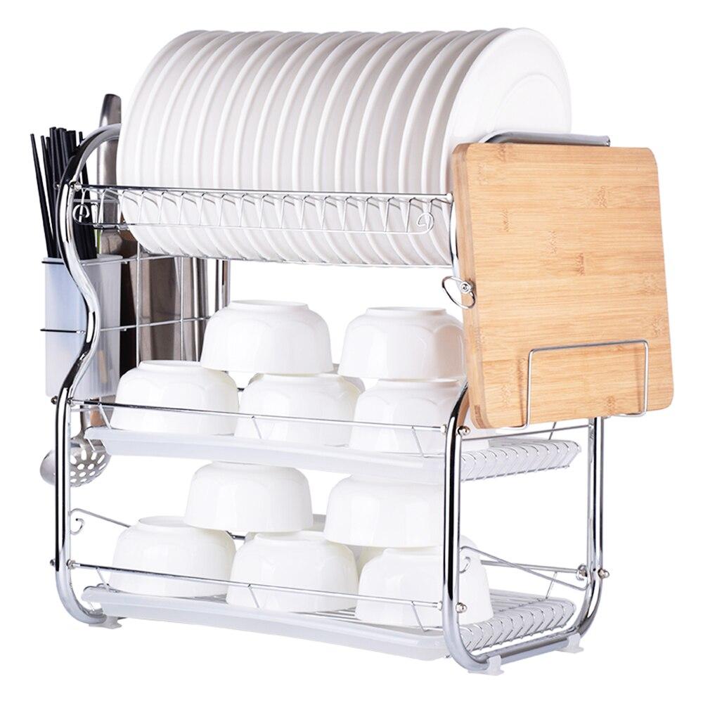 3 уровня Кухня стеллаж для сушки посуды разделочная доска хранения Rack стойку Слива палочки для еды/Держатель ножей Кухня Организатор аксесс...