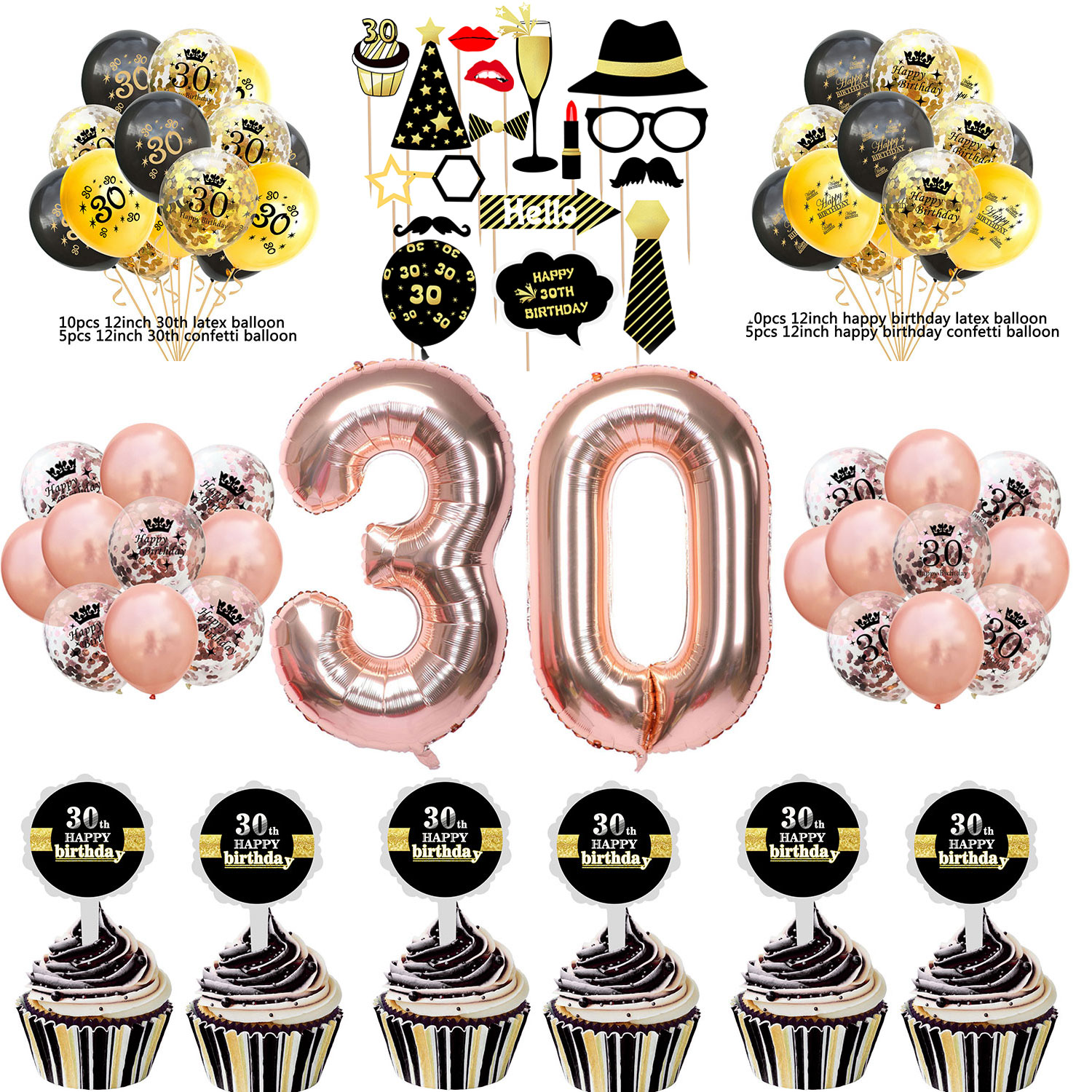ZLJQ 30th Birthday Party Decoration Supplies For Him Her Banner Balloons Golden Jumbo Number 30 Crown Confetti Balloon In Ballons Accessories