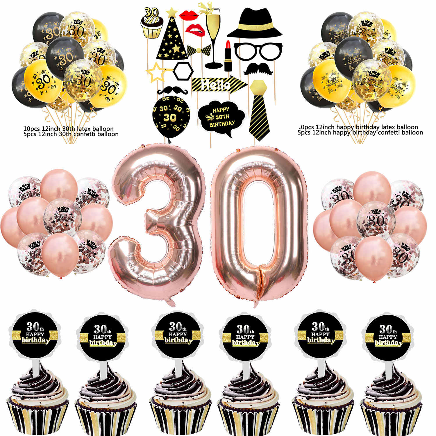 ZLJQ 30th Birthday Party Photo Booth Props Kit 32inch Rose Gold 30 Number Confetti Balloon