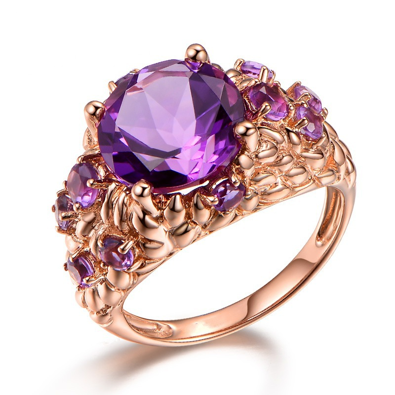Luxury Natural Amethyst Ring Female 14K Rose Gold Bague Etoile Gemstone Anillos De Ring Bizuteria Agate Diamante Rings NoEnName