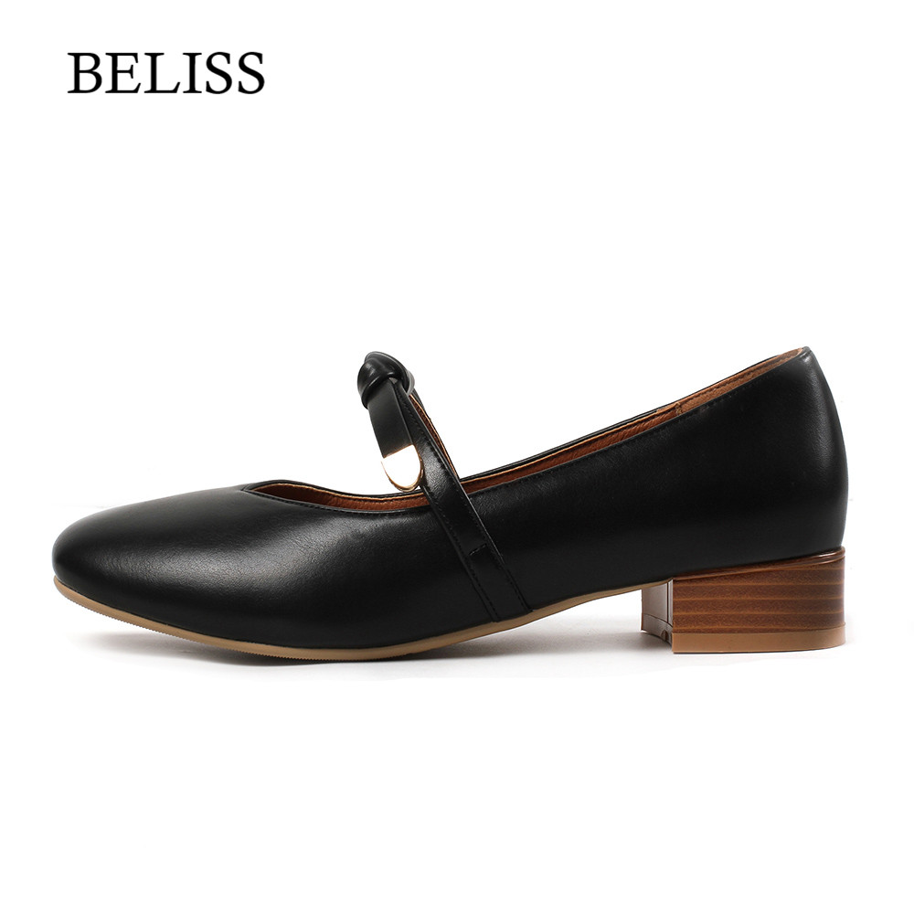 BELISS 2019 Woman Pumps Casual Shoes Mary Janes Womens Square Heel Rivet New Pu Spring Autumn Round Toe P29