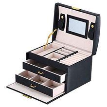 Grandes boîtes demballage de bijoux Armoire Dressing avec fermoirs Bracelet anneau organisateur étuis de transport avec 2 tiroirs 3 couches
