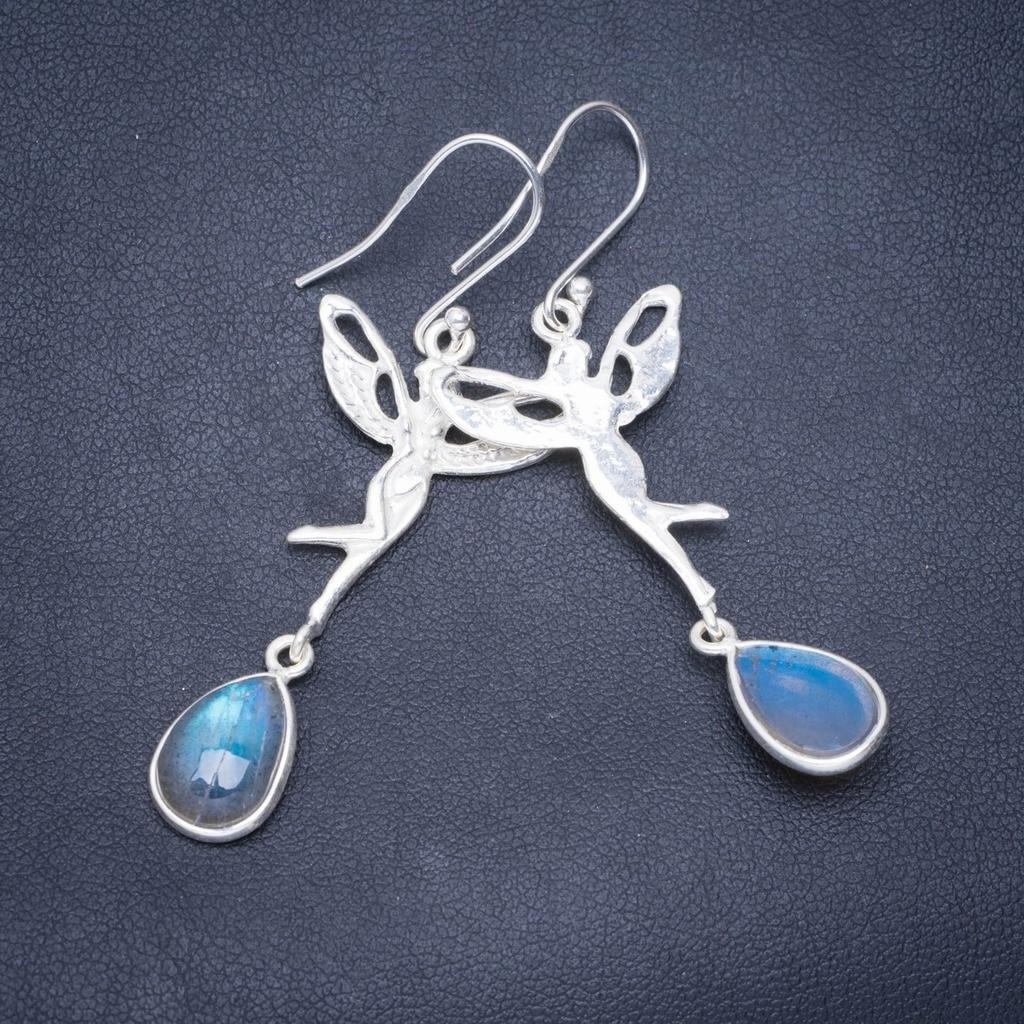 Natural Blue Fire Labradorite Handmade Angel 925 Sterling Silver Earrings 2.25 A0993Natural Blue Fire Labradorite Handmade Angel 925 Sterling Silver Earrings 2.25 A0993
