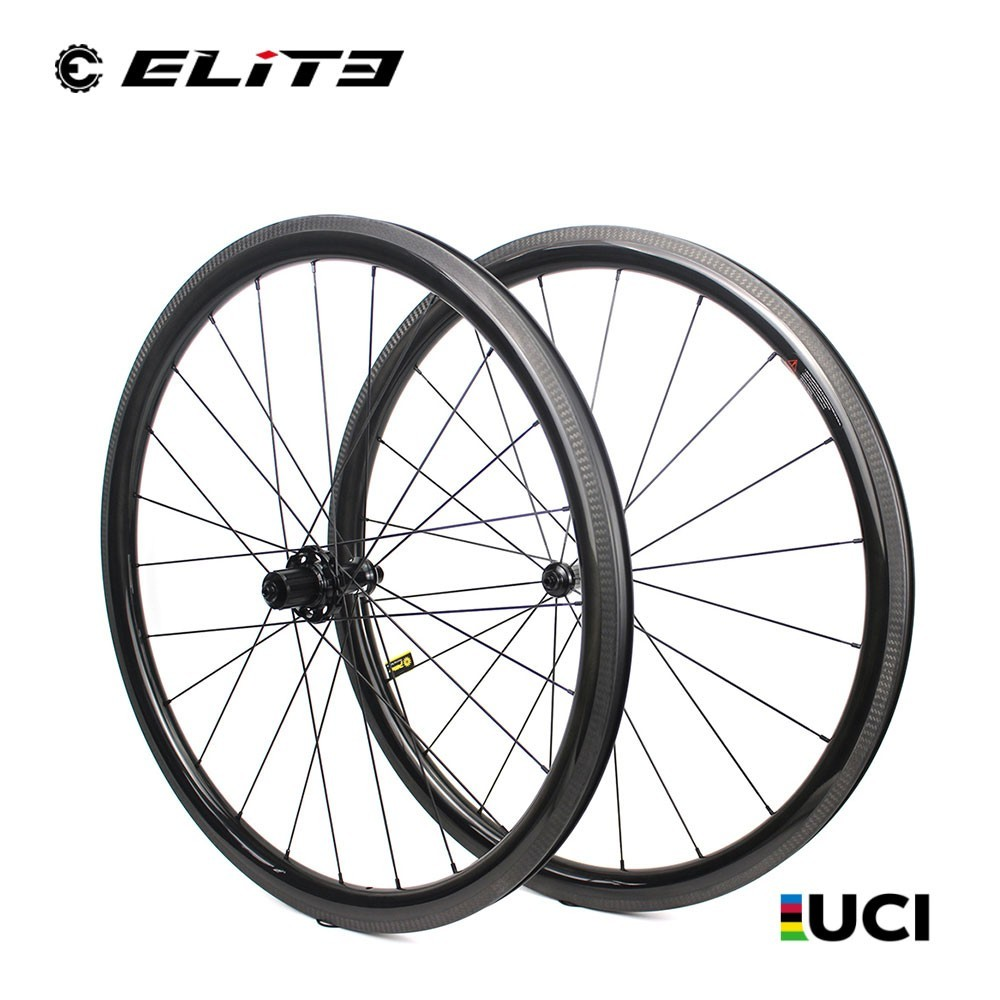 700c Road Bike Carbon Wheel Low Profile 38mm With Low resistance Straight Pull Hub UCI Quality Tubular Tubeless Bicycle Wheelset