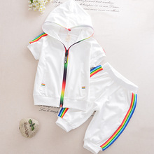 Kids boys and girls sports suit summer short-sleeved hooded zipper shirt + pants childrens clothing