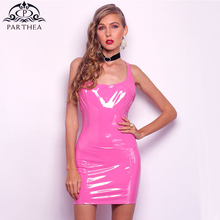 Parthea Elegant Women Dress Sexy Backless Slim Pencil PU Leather Summer Dresses Woman Party Night Club Pink 2019 New