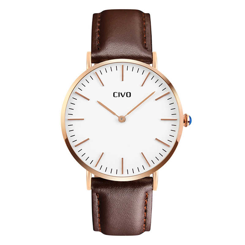 CIVO Ultra Thin Watch For Men Simple Design Fashion Black Genuine Leather Analogue Watch Luxury Waterproof Quartz Wristwatch