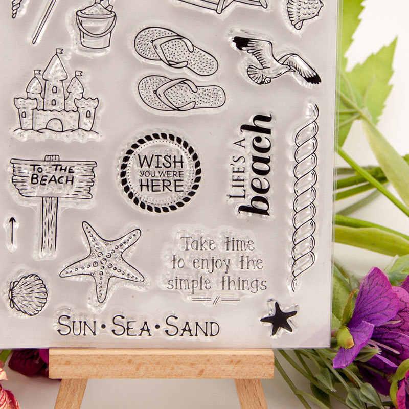 Wyse Bening Perangko Perjalanan Laut Pantai Karet Silikon Transparan Stamp Scrapbooking untuk DIY Kartu Membuat Dekorasi Kerajinan Persediaan