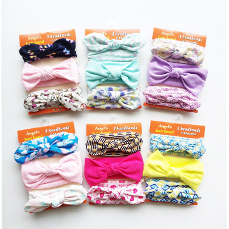 On Sale Baby Girls Cotton Elastic Flower Headband Children Skinny Stretchy Bowknot Elastic Hair Band 3pc/set