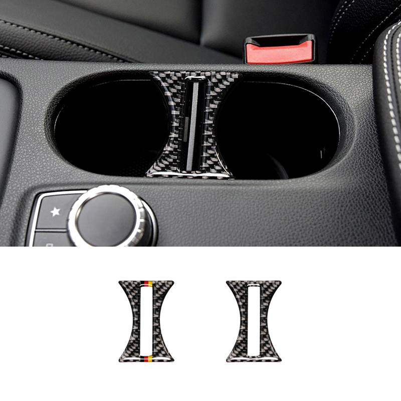 For <font><b>Mercedes</b></font> Benz A GLA CLA Class <font><b>W176</b></font> X156 C117 2014 2015 2016 2017 Carbon Fiber <font><b>Interior</b></font> Water Cup Holder Decor Cover Trim image