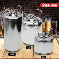 6/10/20L Stainless steel Ball Lock Beer Keg Growler for Craft Beer Dispenser System Home Brew Beer Brewing Metal Handles