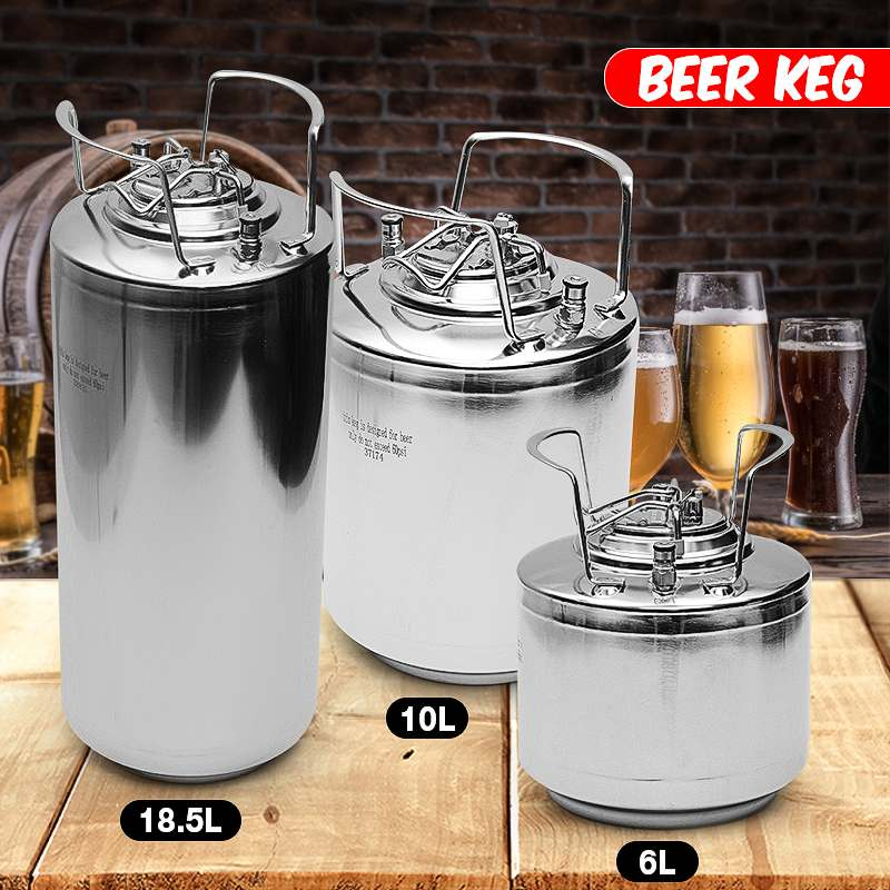 6/10/20L Stainless steel Ball Lock Beer Keg Growler for Craft Beer Dispenser System Home Brew Beer Brewing Metal Handles image