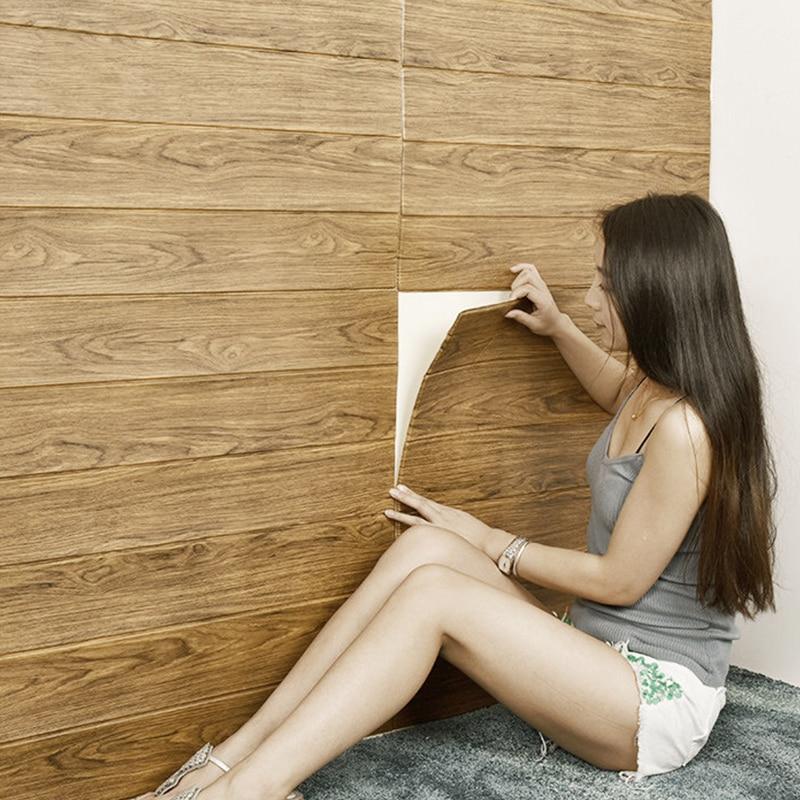 DIY Self Adhesive Waterproof TV Background Wood Grain  3D Wall Sticker Living Room Wallpaper Mural Bedroom Decorative Stickers
