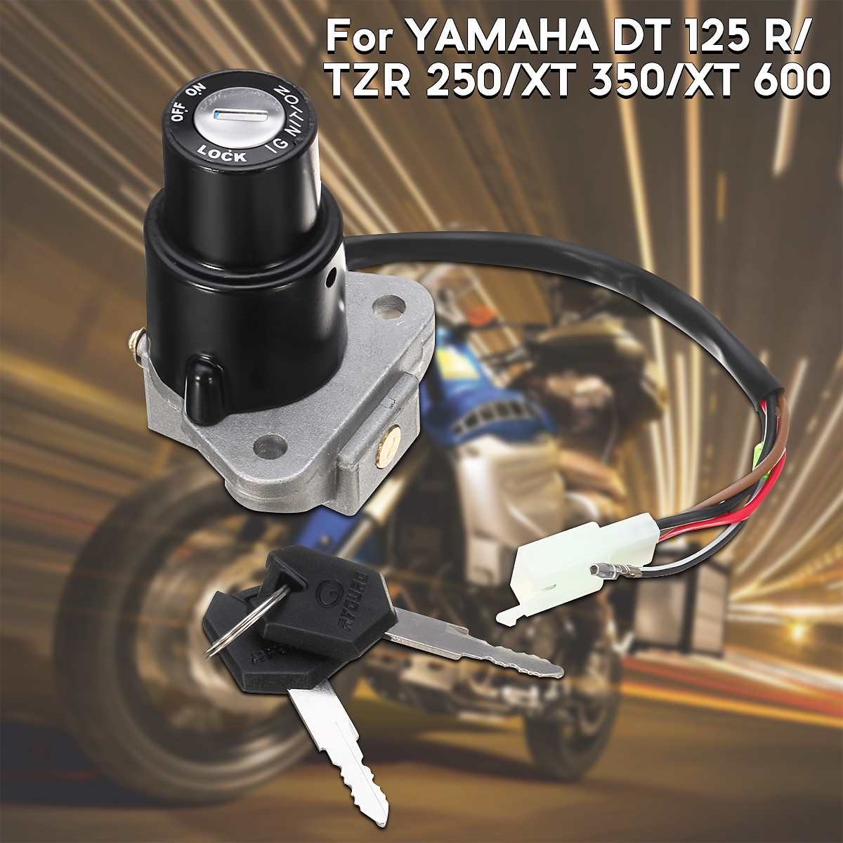 Motorcycle Ignition Switch Lock Assembly 3-Pin W/Keys Fit For YAMAHA DT 125 R/TZR 250/XT 350/XT 600