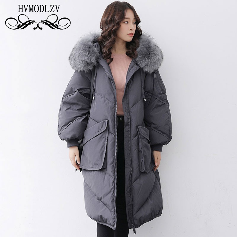 Winter Down Jacket Women 2019 New Big Raccoon Fur Collar Hooded White Duck Feather Light And Thin Coat Female Plus Size HJ166