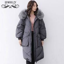 31b9b8bb8f1a Winter Down Jacket Women 2019 New Big Raccoon Fur Collar Hooded White Duck  Feather Light And Thin Coat Female Plus Size HJ166