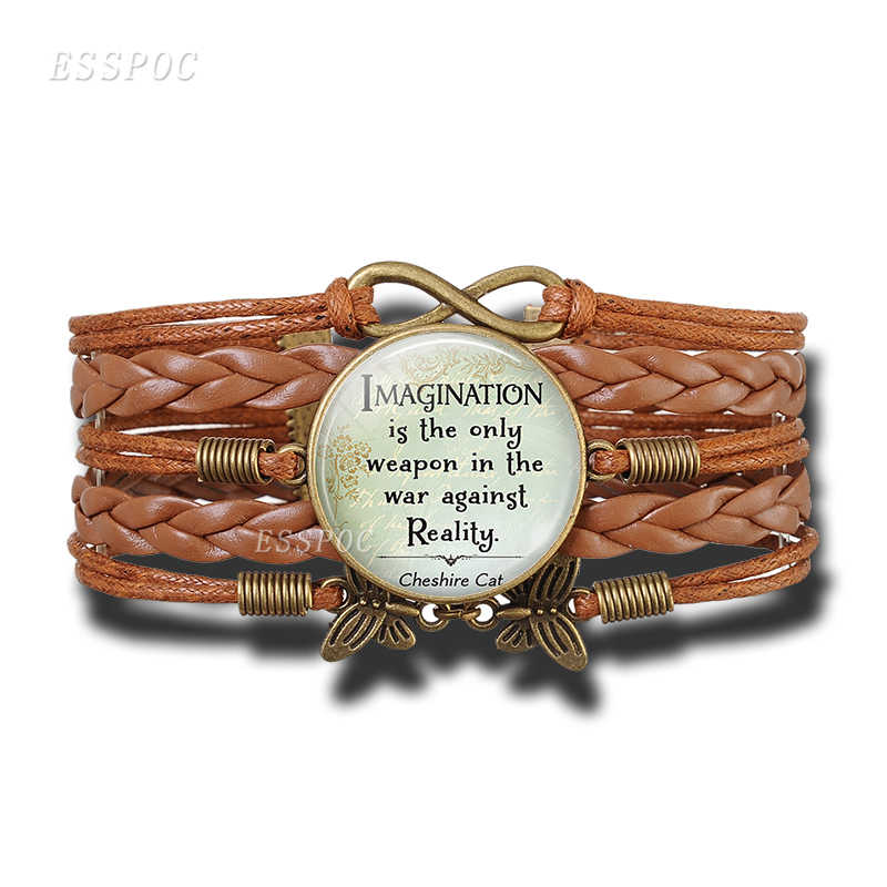 Women's Fashion Brown Leather Bracelet Alice In Wonderland Quote Print Glass Cabochon Bracelets Bangle Women Fashion Accessories