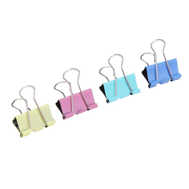 60PCS/lot 15mm Colorful Metal Binder Clips Office Stationery Paper Clip Office Stationery Binding Supplies Stainless Steel Clipe