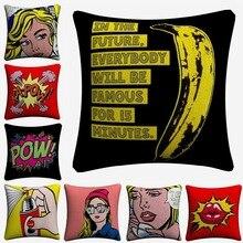 Pop Art Fashion Cartoon Figure Decorative Cotton Linen Cushion Cover 45x45cm Throw Pillow Case For Sofa Home Decor Almofada цены