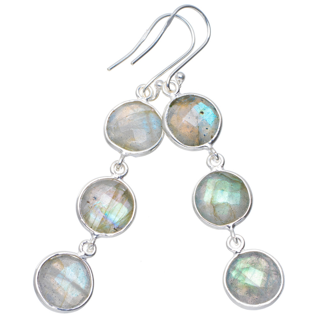 Natural Blue Fire Labradorite Handmade Unique 925 Sterling Silver Earrings 2.25 A0854 natural blue fire labradorite handmade boho 925 sterling silver earrings 1 25 u0962
