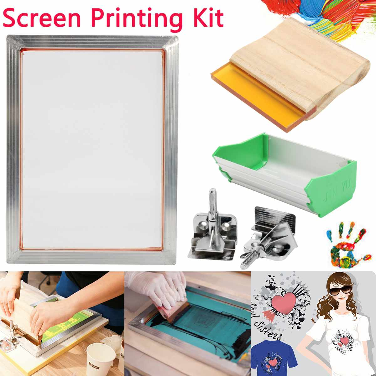 5Pcs/Set A5 Screen Printing Kit Aluminum Frame+Hinge Clamp+Emulsion Coater+Squeegee Screen Frame Printing Tool Parts 2019 New
