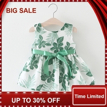 Floral Print Baby Girl Dress with Bow A-Line Sleeveless Summer for Princess Party Formal Dresse