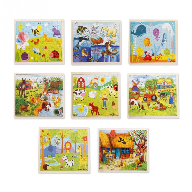 60Pcs Wooden Cartoon Puzzle Jigsaw Baby Toy Kid Early Learning Castle Construction Pattern Gift For Children Brinquedo Houses