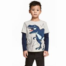 Children's wear baby T-shirt 2019 new kids cotton round neck cartoon long-sleeved shirt baby clothes(China)