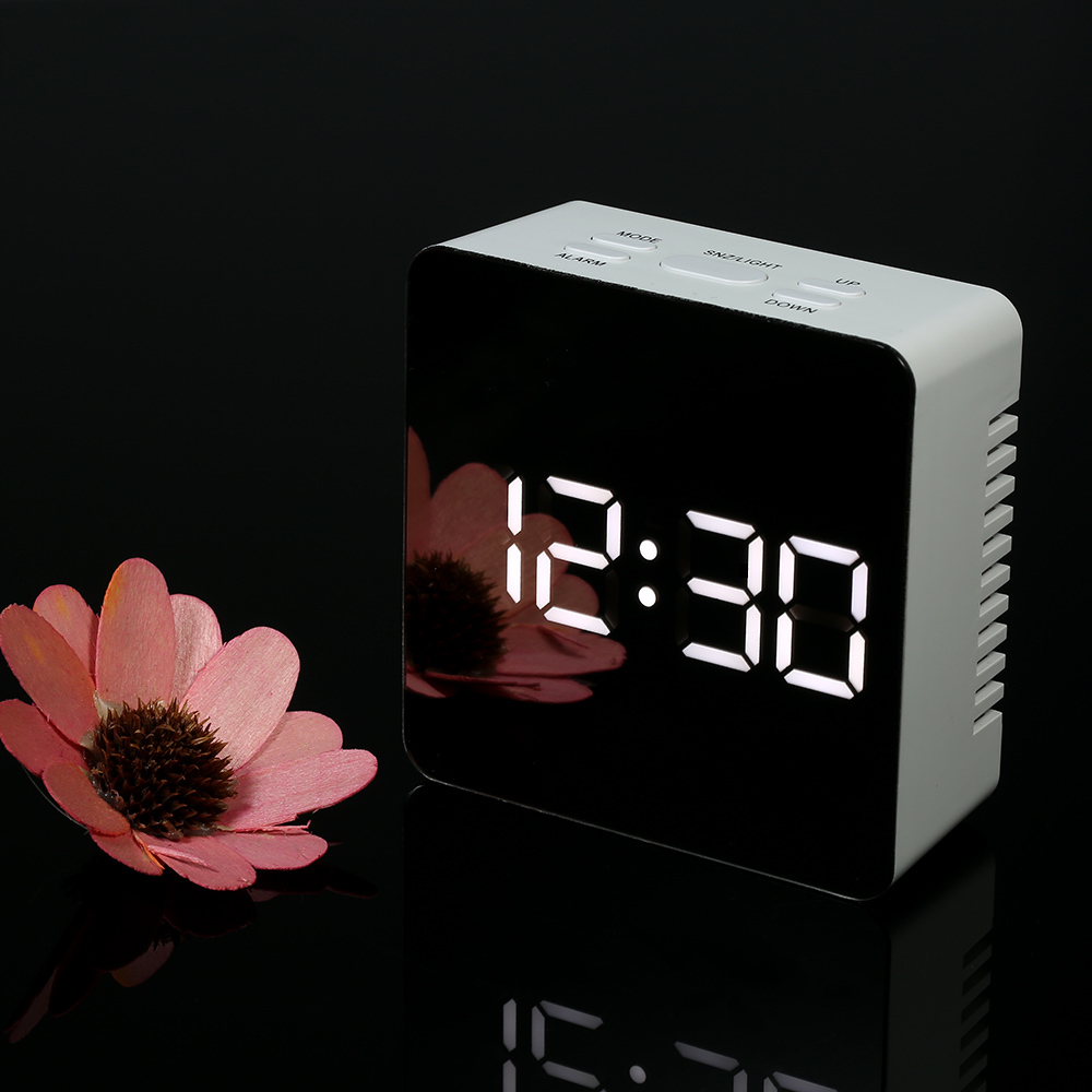 Capable Digital Led Display Desktop Digital Table Clocks Mirror Clock Alarm And Snooze Function Indoor Thermometer Light Adjustable Home Long Performance Life Clocks Home & Garden