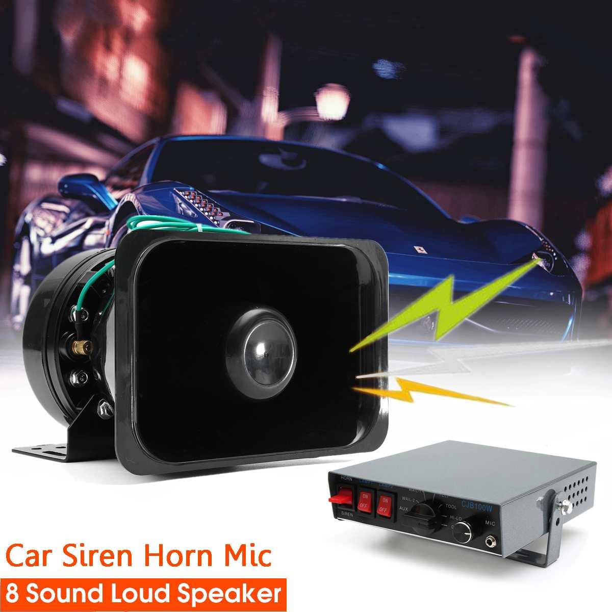 12 V 100 W Voiture Alarme D'avertissement pour Sirène Corne PA Haut-Parleur MICRO Système 8 Réglage Audio Voiture Sirène Cornes