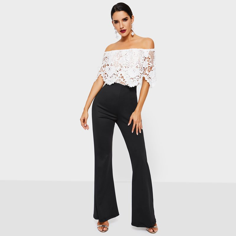 Evening Party Date Women Summer White Strapless Off Shoulder Backless Lace Top Black Wide Leg Pants Romper High Street Jumpsuit