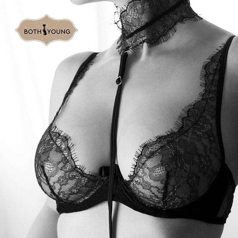BOTHYOUNG Thin Sexy Bralette Set Eyelash Lace Bra Set Thin Transparent Underwear Ladies Push Up Bra Black in Bras from Underwear Sleepwears