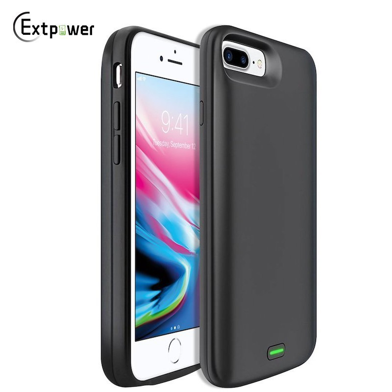 Extpower 8000/5000mAh <font><b>Battery</b></font> <font><b>Case</b></font> For <font><b>IPhone</b></font> 8 7 <font><b>6</b></font> 6s Plus External Rechargeable Black Power Bank Backup Cover Powerbank image