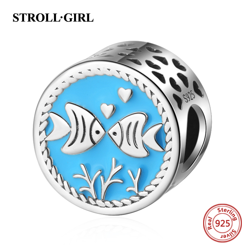 Mistletoe Genuine 925 Sterling Silver Nian Nian You Yu Two Tone Fish Charm Bead Fit European Bracelet Jewelry Jewelry & Accessories