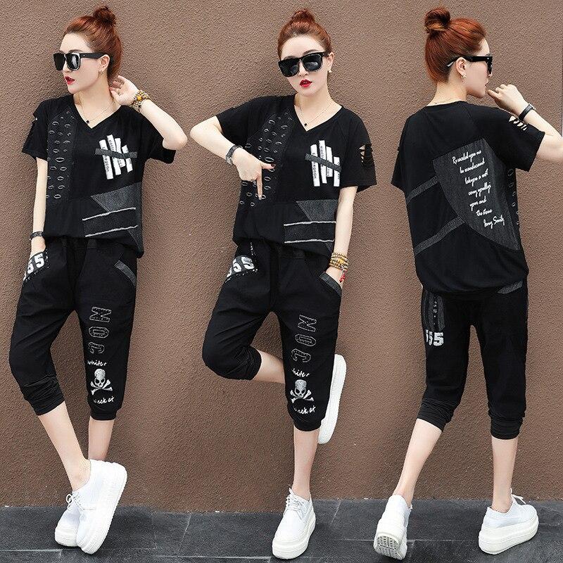 Kadın Giyim'ten Kadın Setleri'de Max LuLu yaz lüks kore eşofman bayanlar 2 adet Set Vintage kıyafetler kadın delik üstler ve pantolonlar büyük boy spor giyim'da  Grup 3