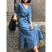 Woman Long Denim Dress Autumn Summer Koran Style Causal Stretch Jeans Office Split with Button Plus Size Japanese